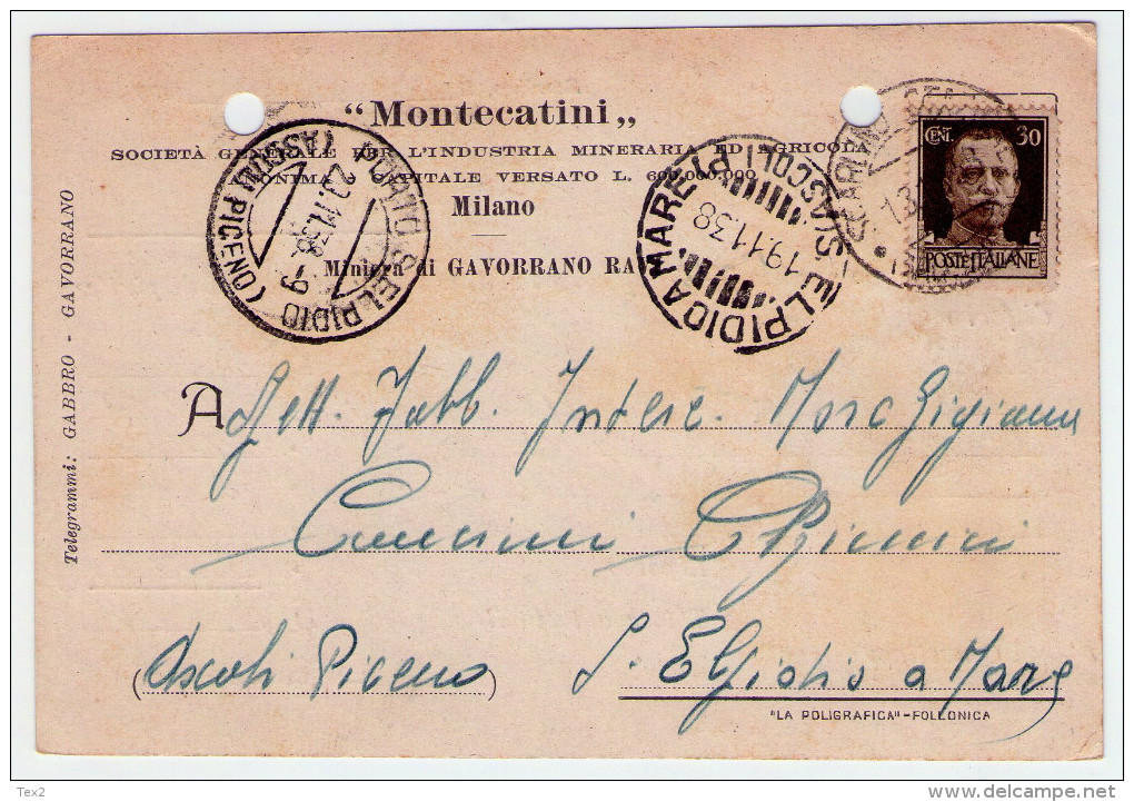 1938. Cartolina Commerc. Soc. Mineraria Montecatini. Annullo Scarlino Stazione (Gr). - 1900-44 Vittorio Emanuele III