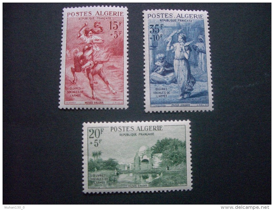 """ALGERIE  *  *  De  1957   """"   Pour  Les  Oeuvres  Sociales  De  L' Armée    """"   N°  346  à  348     3 Val . - Nuevos"""