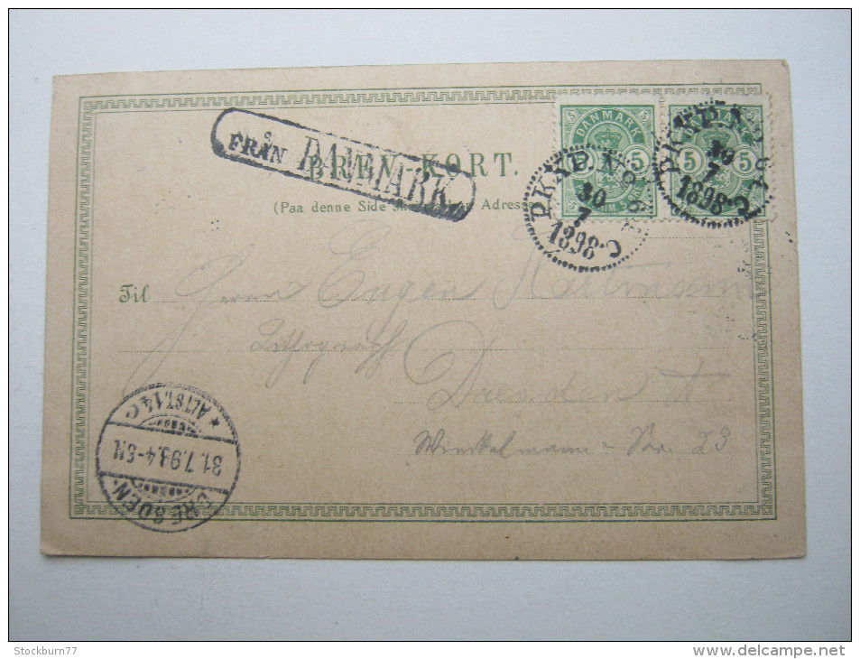 1898 , FRAN Danmark , Schwedischer Stempel Auf Dänemarkfrankatur , Karte - 1864-04 (Christian IX)