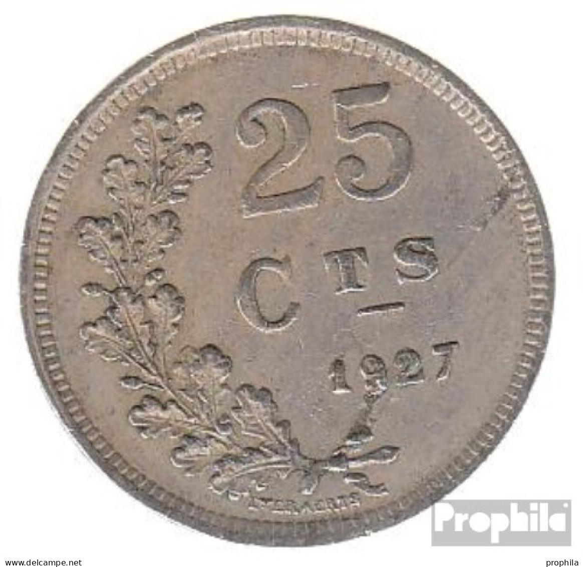 Luxemburg KM-Nr. : 37 1927 Sehr Schön Kupfer-Nickel Sehr Schön 1927 25 Centimes Wappen - Luxemburg