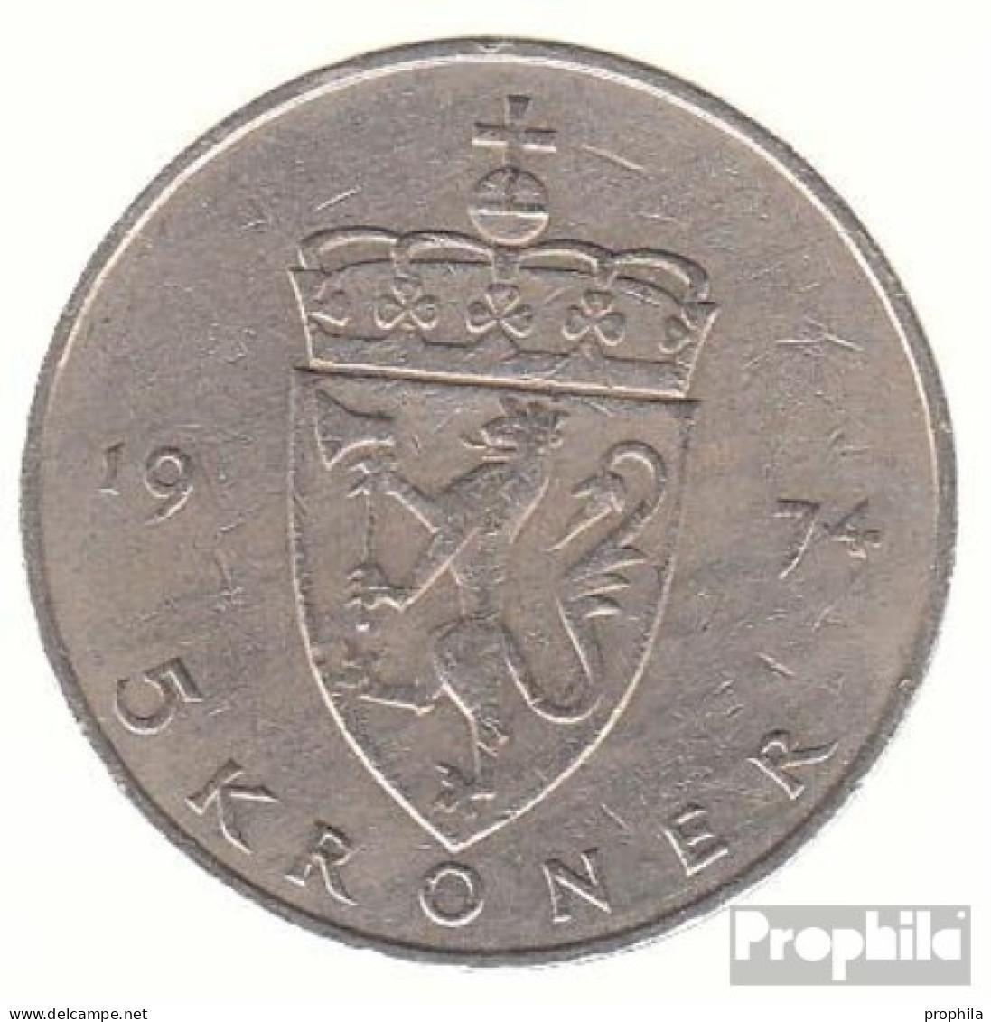Norwegen KM-Nr. : 420 1977 Vorzüglich Kupfer-Nickel Vorzüglich 1977 5 Kroner Olav V. - Norwegen