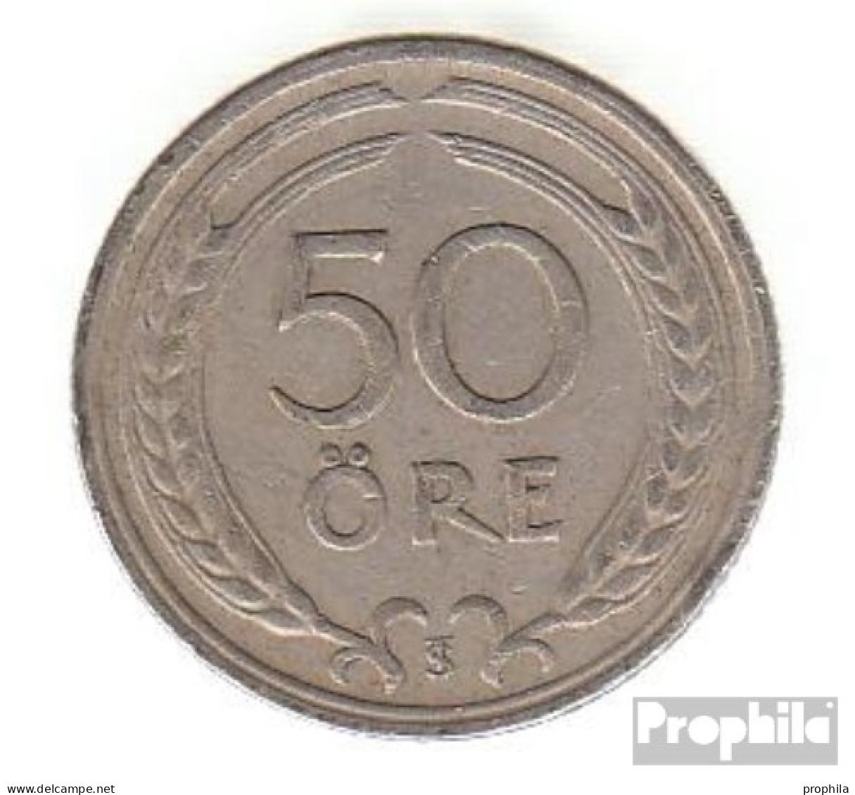 Schweden KM-Nr. : 796 1924 Sehr Schön Nickel-Bronze Sehr Schön 1924 50 Öre Gekröntes Monogramm - Schweden