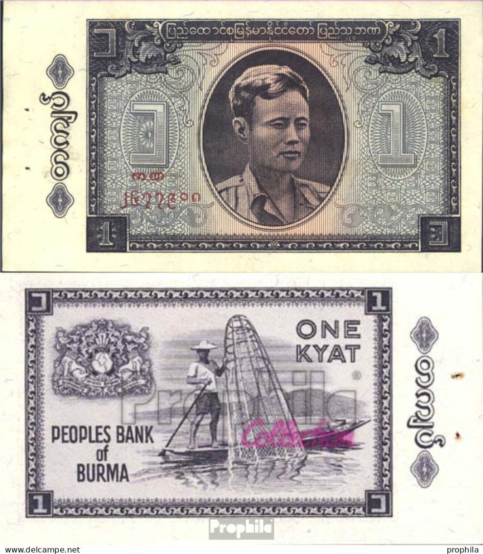 Birma Pick-Nr: 52 Bankfrisch 1965 1 Kyat - Myanmar