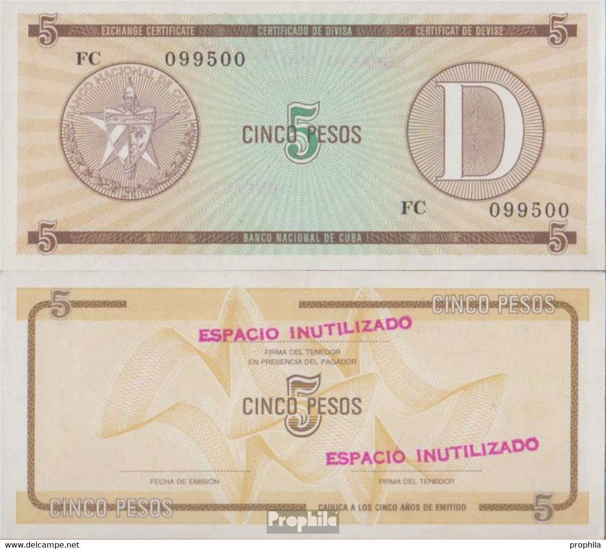 Kuba Pick-Nr: FX34 Bankfrisch 1985 5 Pesos - Cuba