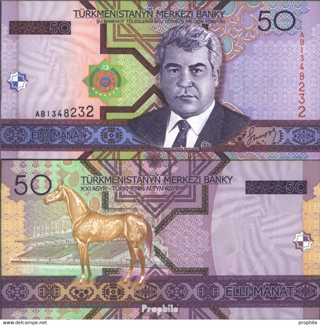 Turkmenistan Pick-Nr: 17 Bankfrisch 2005 50 Manat - Turkménistan