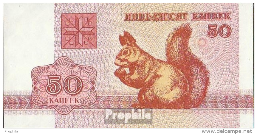 Weißrussland Pick-Nr: 1 Bankfrisch 1992 50 Kapeek Eichhörnchen - Belarus