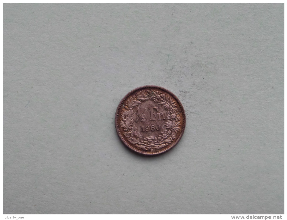 1960 - 1/2 Franc / KM 23 ( Uncleaned - For Grade, Please See Photo ) ! - Suisse