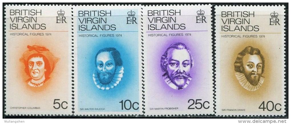 GN0111 Virgin Islands 1974 Celebrity Columbus 4v MNH - Iles Vièrges Britanniques