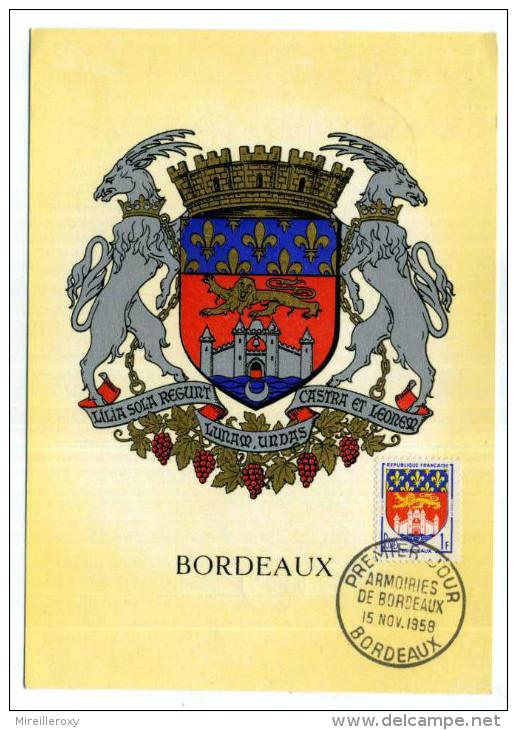 CARTE MAXIMUM / FRANCE N° 1183 / ARMOIRIE / BLASON / HERALDIQUE  /  BORDEAUX  /  LION   CHATEAU - Armoiries