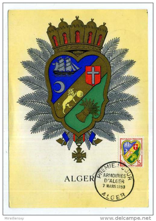 CARTE MAXIMUM / FRANCE N° 1195 / ARMOIRIE / BLASON / HERALDIQUE  /  ALGER / - Armoiries