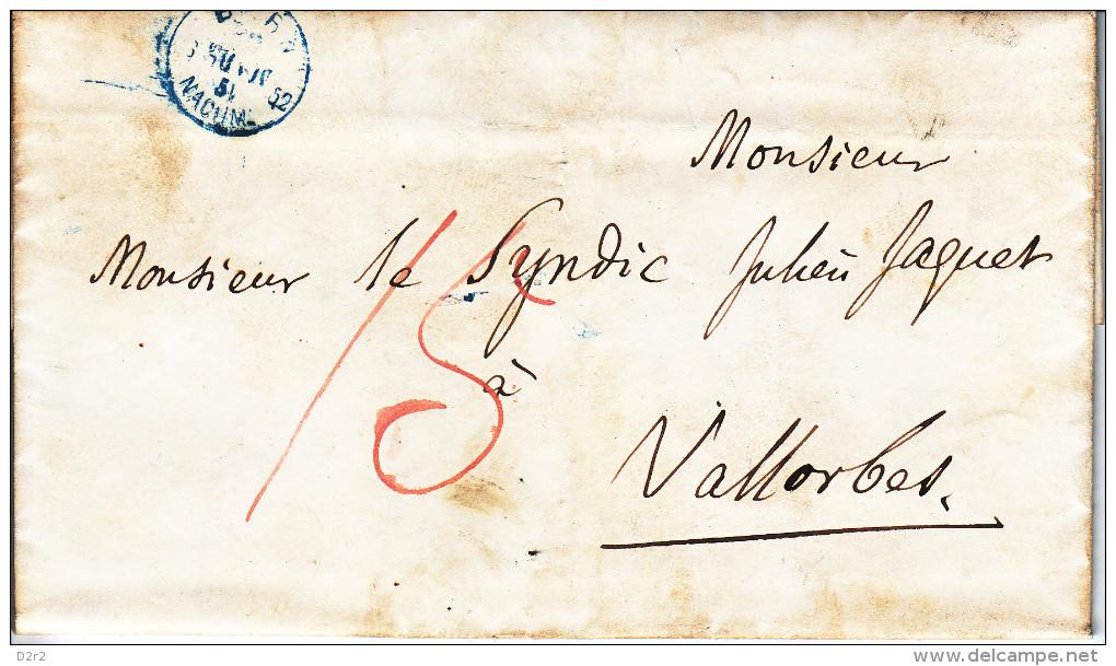 1852- LETTRE DE BERN AU SYNDIC DE VALLORBE- TTB-TAXEE 15 EN ROUGE-CACHET DE BERNE EN BLEU !!!! - ...-1845 Préphilatélie