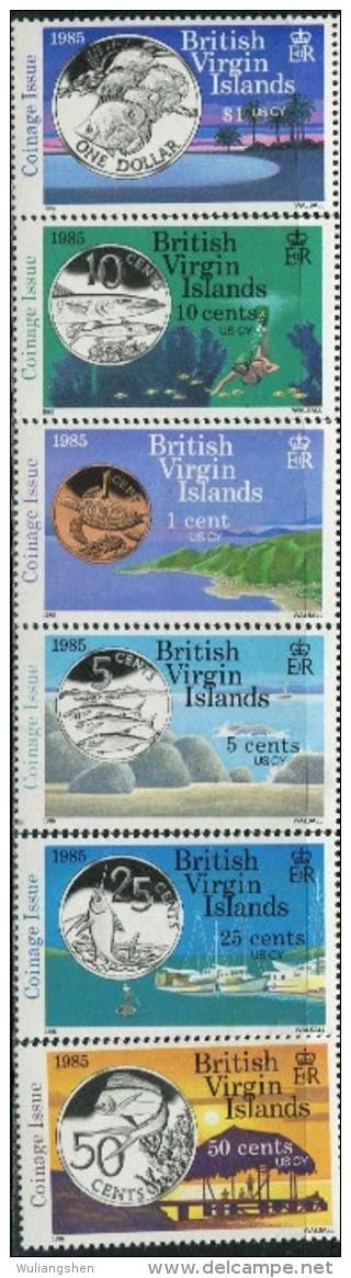 GN0133 Virgin Islands 1985 Votes Currency Coins 6v MNH - British Virgin Islands