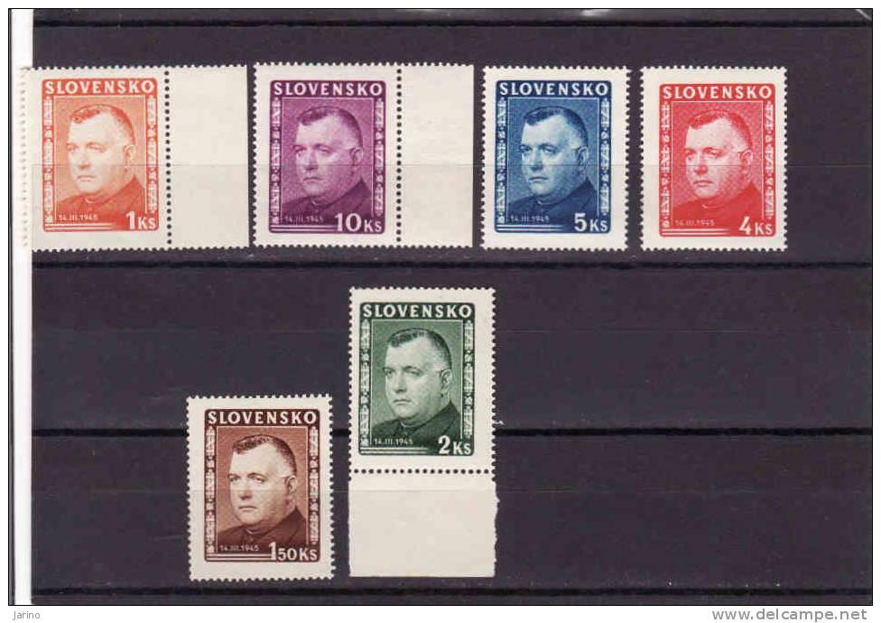 Slovakia 1939-45, President Tiso, Mi 156-61** - Unused Stamps