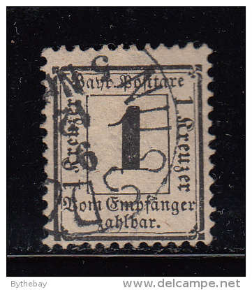 Bavaria Used #J2 1kr Postage Due - Pulled Perf - Bavière