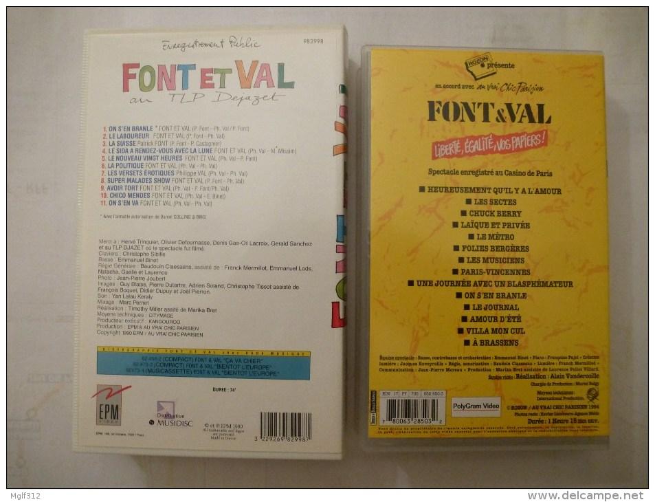 FONT Et VAL LOT DE 2 Cassettes Vidéo VHS : Concert Patronné Par CHARLIE HEBDO Jaquette Illustrée Par CABU - Concert Et Musique