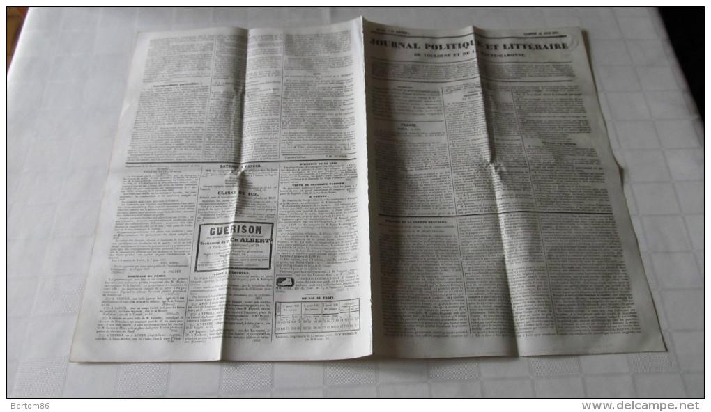 LEGION ETRANGERE - L´ANCIENNE LEGION ETRANGERE - MORT DU GENERAL CONRAD -GUERRES CARLISTES - JOURNAL DE TOULOUSE - 1837. - Giornali