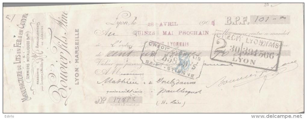 LETTRE DE CHANGE - 1908 - - France