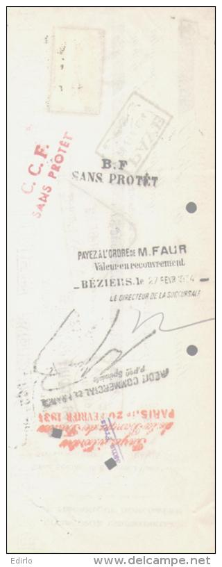LETTRE DE CHANGE - 1934 Compagnie Industrielel Horlogere Bld Malesbes PARIS - 1900 – 1949