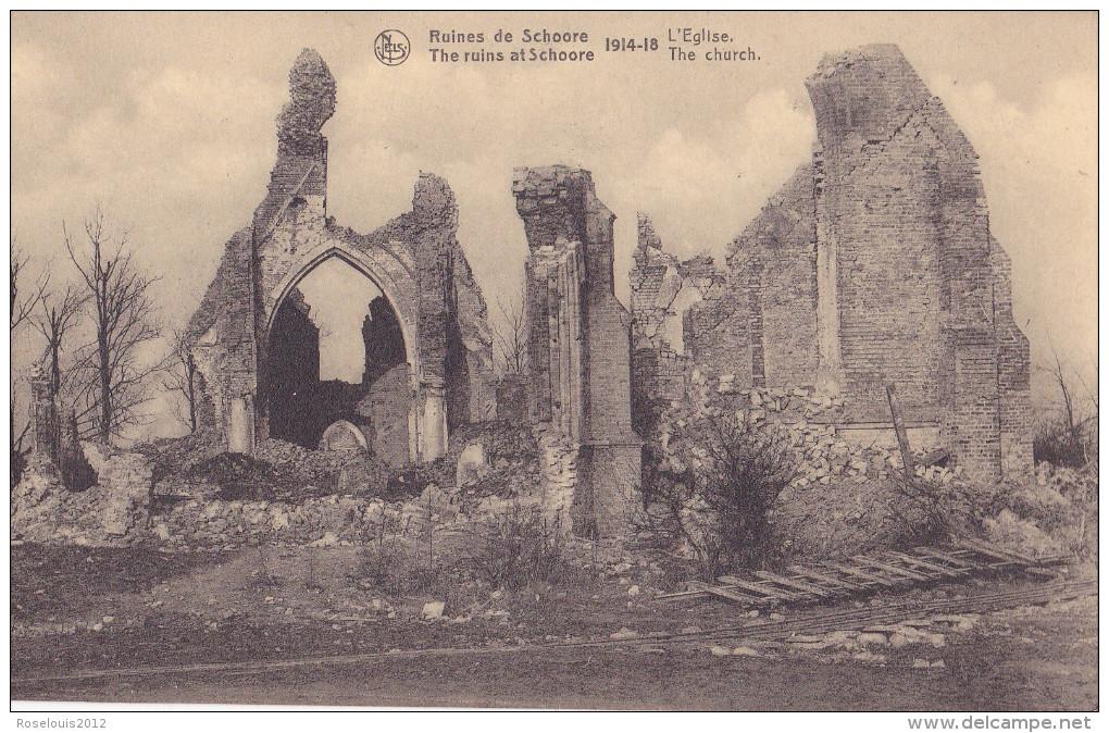 SCHORE / SCHOORE : Ruines 14-18 - L'église - Middelkerke