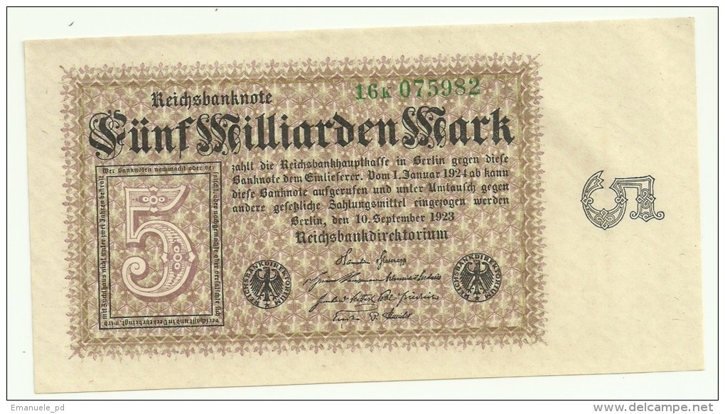 Germany 5 Milliarden Mark 10/09/1923 UNC/AUNC - 5 Milliarden Mark