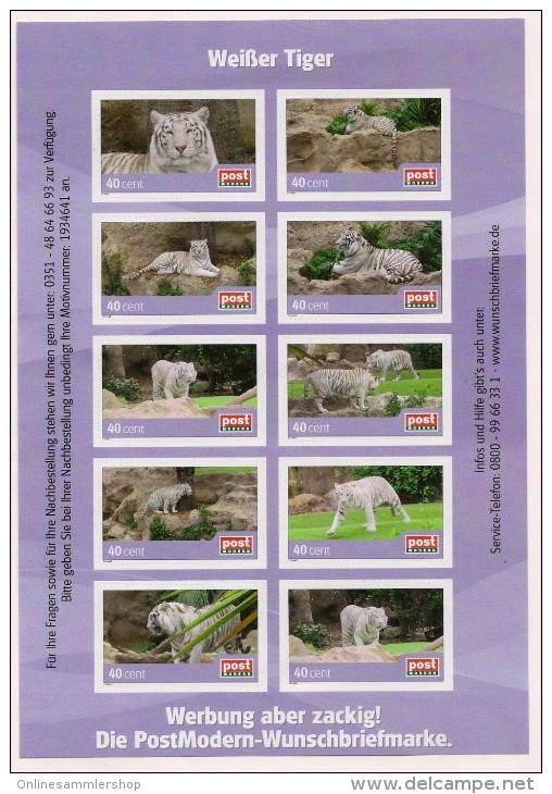 BRD - Privatpost -PostModern-  Weißer Tiger (Panthera Tigris) - Kleinbogen 10 Marken - BRD