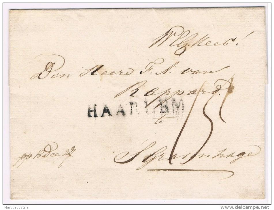 Départements Conquis. HAARLEM. 40mm= De 1810 à 1813. (sans Date.) Taxe 15d. - Marcofilie (Brieven)
