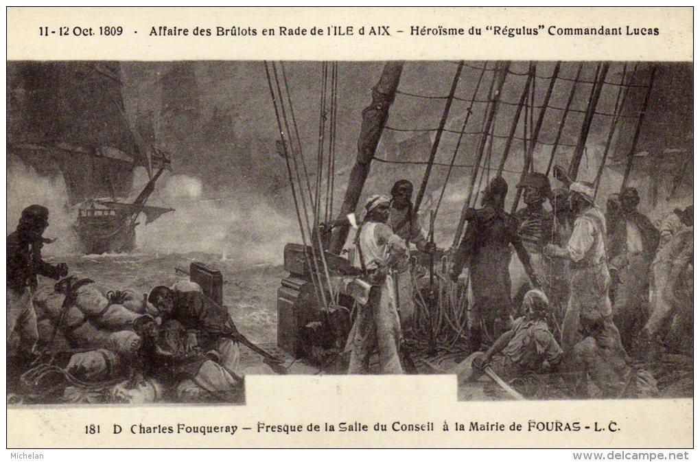 CPA  D. CHARLES FOUQUERAY-FRESQUE A LA SALLE DU CONSEIL A LA MAIRIE DE FOURAS-AFFAIRE DES BRULOTS EN RADE DE L'ILE D'AIX - Paintings