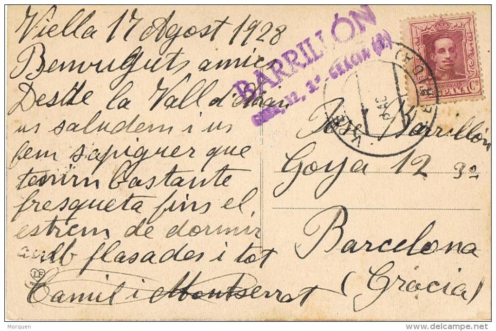 11750. Postal VIELLA (Lerida) 1928. Vista General Prineos Vall D'Aran - Cartas