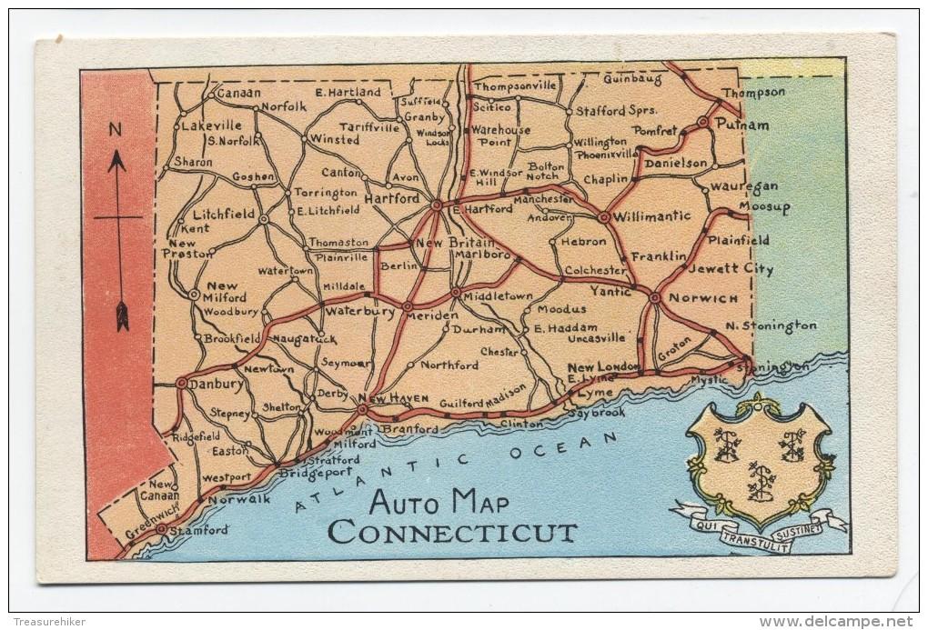 CT ~ Automobile Route Map CONNECTICUT C1925 Postcard - Unclassified
