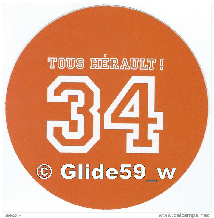 Autocollant - 34 Tous Hérault ! (orange) - Stickers