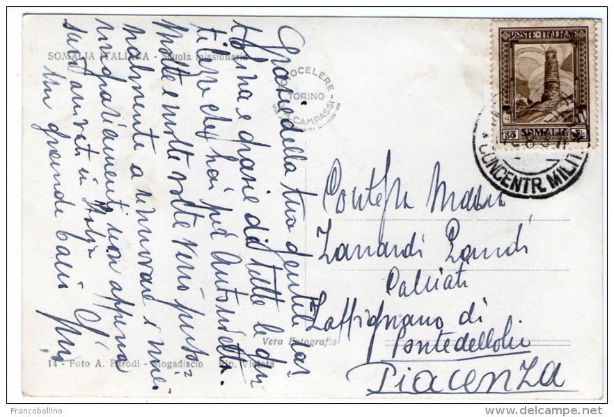SOMALIA ITALIANA - SCUOLA MISSIONARIA / MOGADISCIO 1937 - Somalia