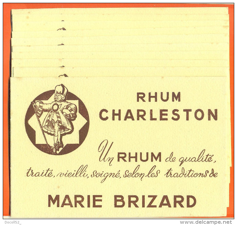 "Lot De 10 Buvards  ""  Rhum Charleston - Marie Brizard  "" - Blotters"