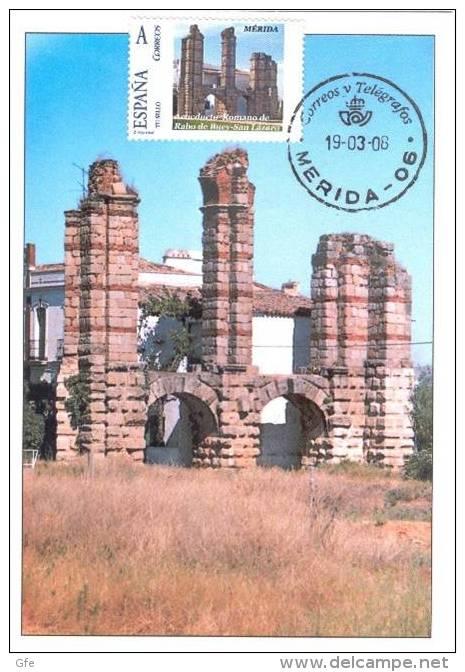 Spain Maxicard – España Tarjeta Máxima Con Sello Personalizado Del Acueducto Romano De Rabo De Buey-San Lázaro De Mérida - Monumenti