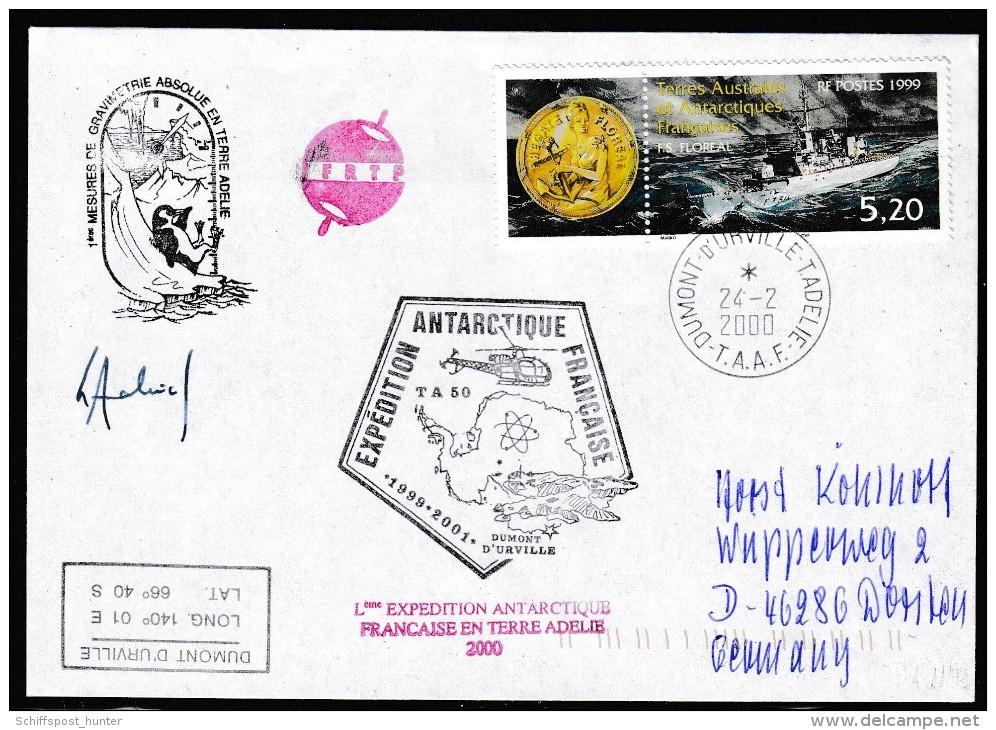 ANTARCTIC, TAAF, D´URVILLE, 24.2.2000, 5 Cachets +  Signature , Look Scan !! 17.2-30 - Antarctische Expedities