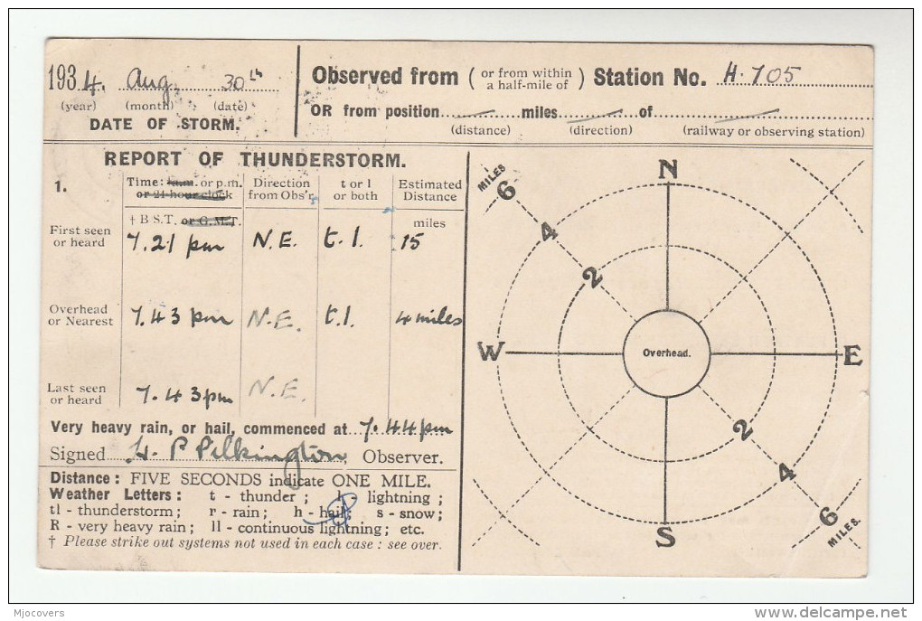 1934 ORRELL Wigan CDS GB GV Stamps COVER Postcard METEOROLOGY Report WEATHER STATION Re THUNDERSTORM - Climate & Meteorology