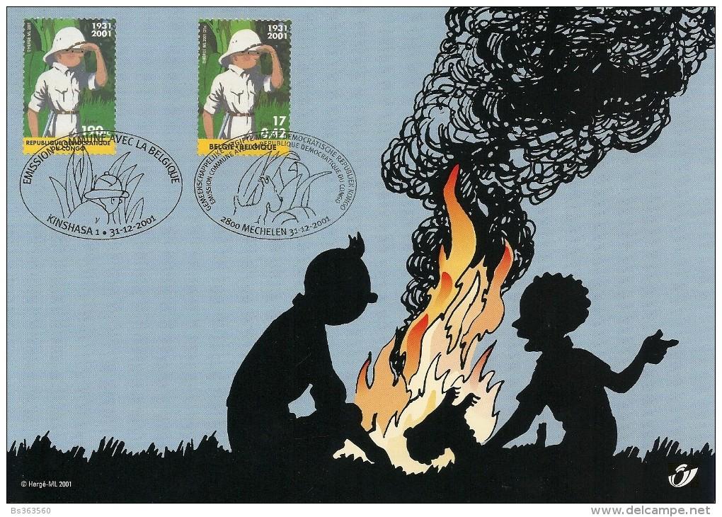 Carte-souvenir De L´Emission Commune Avec Le Congo Kinshasa - COB N° 3048HK - 70ème Anniversaire De Tintin Au Congo - Cartoline Commemorative