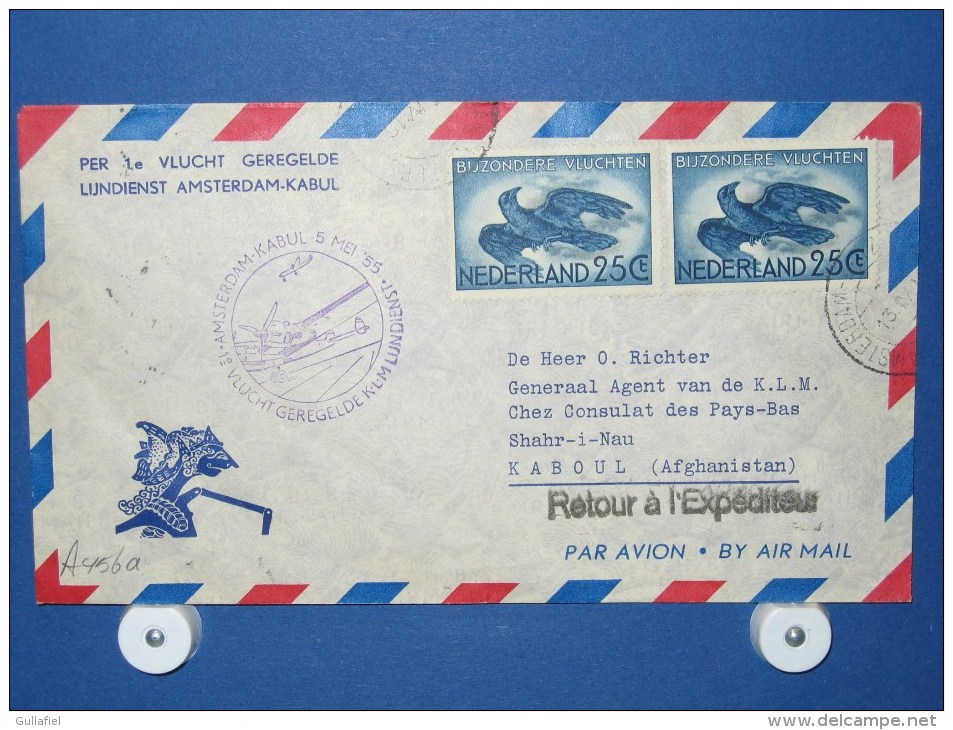 FFC First Flight 095 Amsterdam - Kaboul Afghanistan1955 - A456a (nr.Cat DVH) - Afghanistan