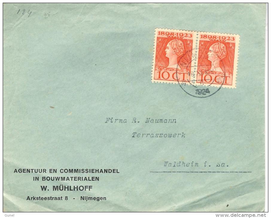 1924 Firmabrief Van Nijmegen Naar Waldheim Met Paartje  10 Cent Jubileumzegels 18.XI 1924 - Periode 1891-1948 (Wilhelmina)