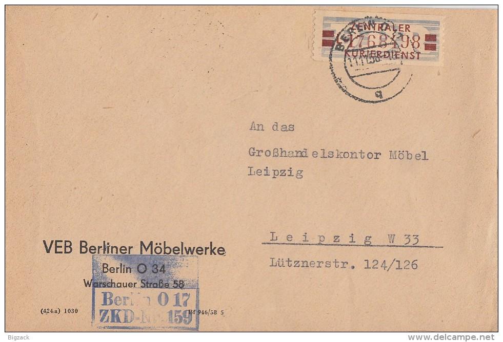 DDR Brief ZKD EF Minr.21 Berlin 11.11.58 - DDR