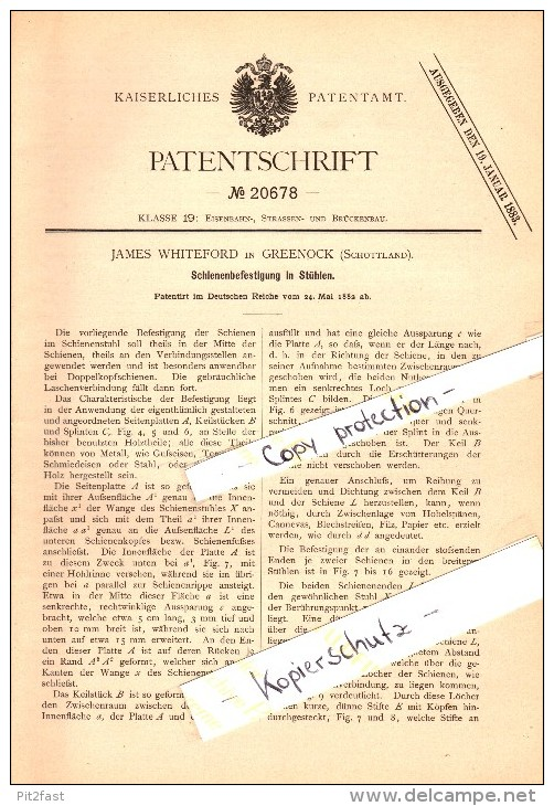 Original Patent - James Whiteford In Greenock , Scotland , 1882 , Rail Fastening For Railway , Inverkip !!! - Renfrewshire