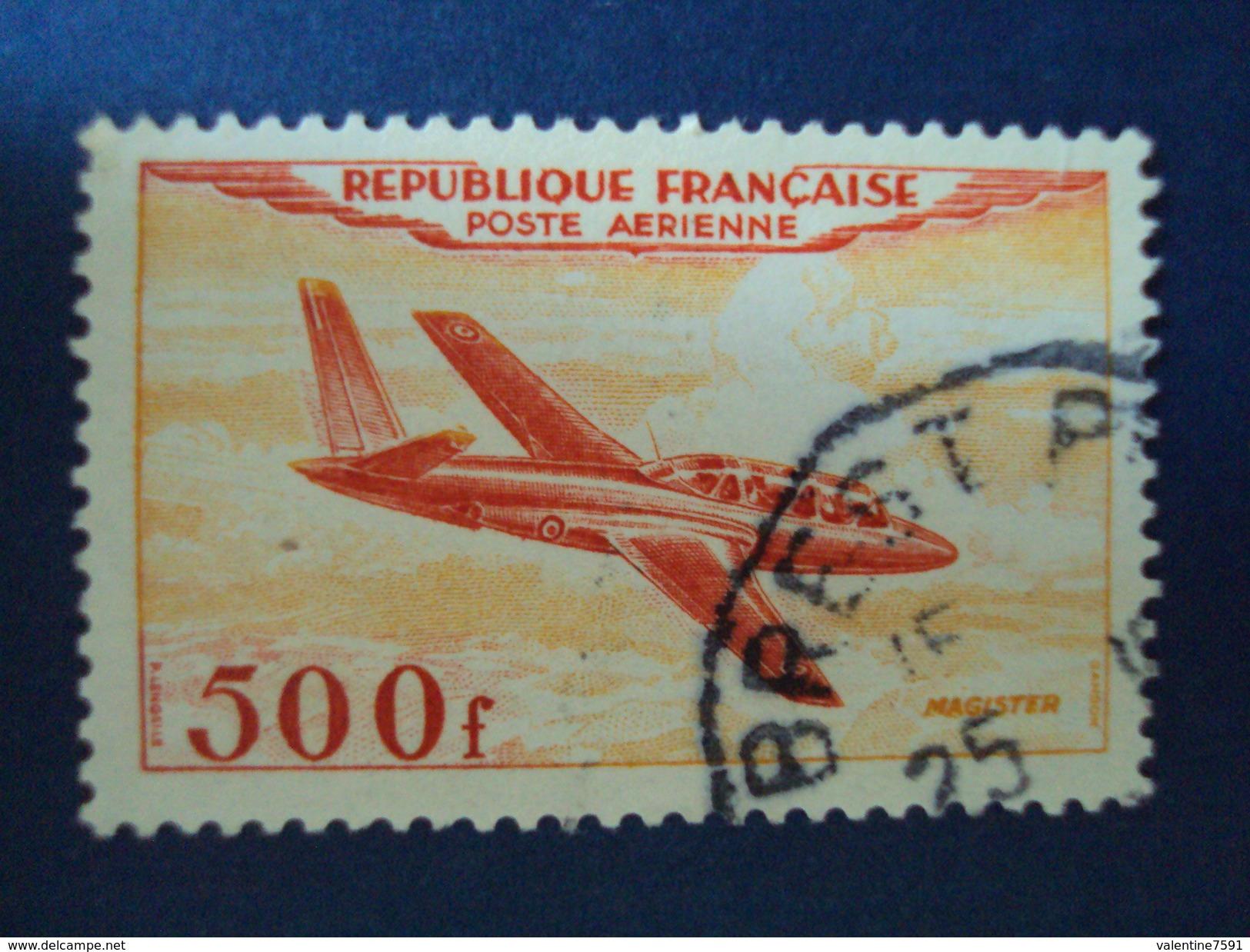 """1954-P.A. """"Fouga Magister 500 Frs"""" -ref  32- Oblitéré, 1 Pli Haut Gauche  """"cachet BREST"""" Cote 16- Net 3-en état - Poste Aérienne"""