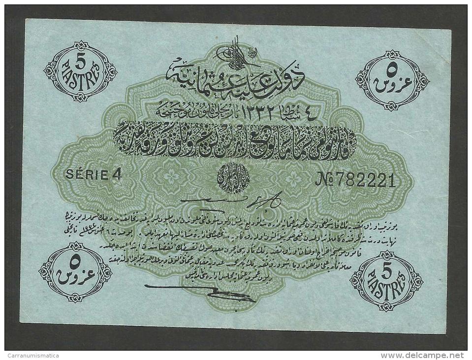 [NC] TURKEY / TURCHIA - OTTOMAN EMPIRE - 5 PIASTRES (1332) BLUE PAPER - Turchia