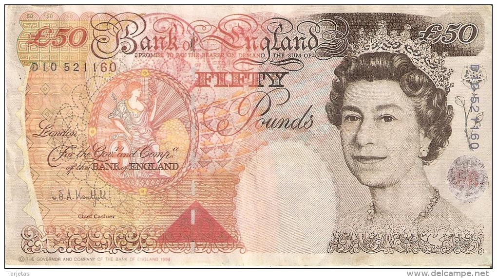 BILLETE DEL REINO UNIDO DE 50 POUNDS (FACSIMIL NO ORIGINAL)  (BANKNOTE) FACSIMILE RESTAURANTE BAR - 1952-… : Elizabeth II