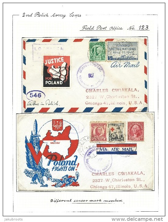 1944. POLISH FORCES IN ITALY . FIELD POST OFFICE  123. CENSOR 52, 546,551. TO U.S.A. - 1902-1951 (Kings)