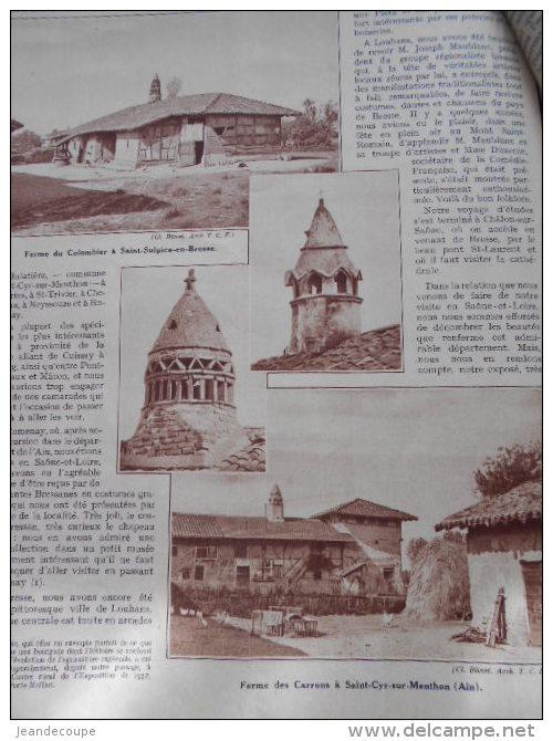 - Article - Régionnalisme - Romenay- Tournus- Chapaize- Blanot- Laizé- Massy- Clessé- Uchizy- Domange - 9 Pages - 1937 - Documents Historiques