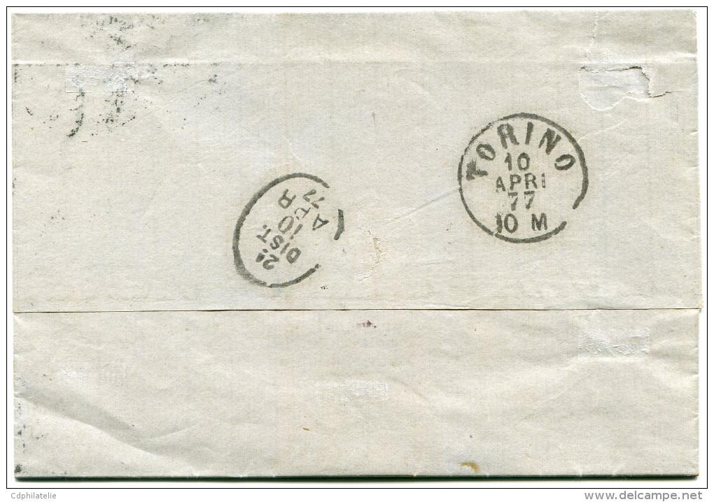 FRANCE LETTRE AFFRANCHIE AVEC UN N°56 OBLITERATION CACHET DEPART LYON 9 AVRIL 77 LES TERREAUX POUR L'ITALIE - Marcophilie (Lettres)