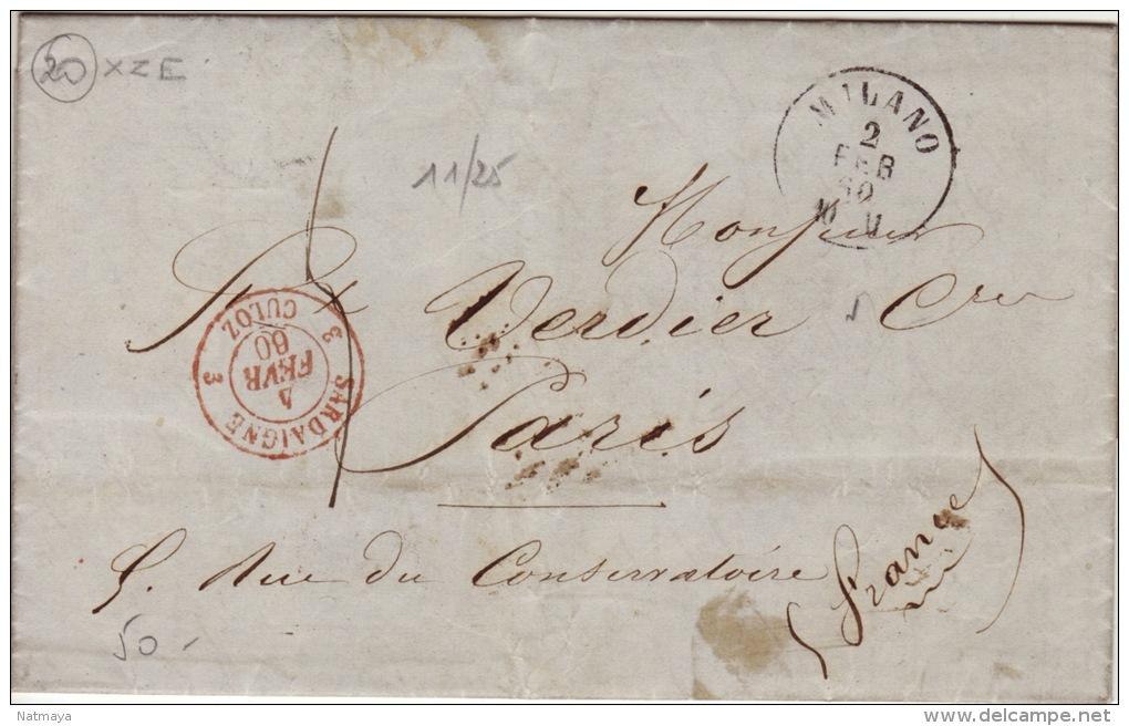 AIN - Cachet D´entrée En France- CAD-3 Sardaigne 3 Culoz-Milano- Lettre Pour Paris-1860 - 1849-1876: Période Classique