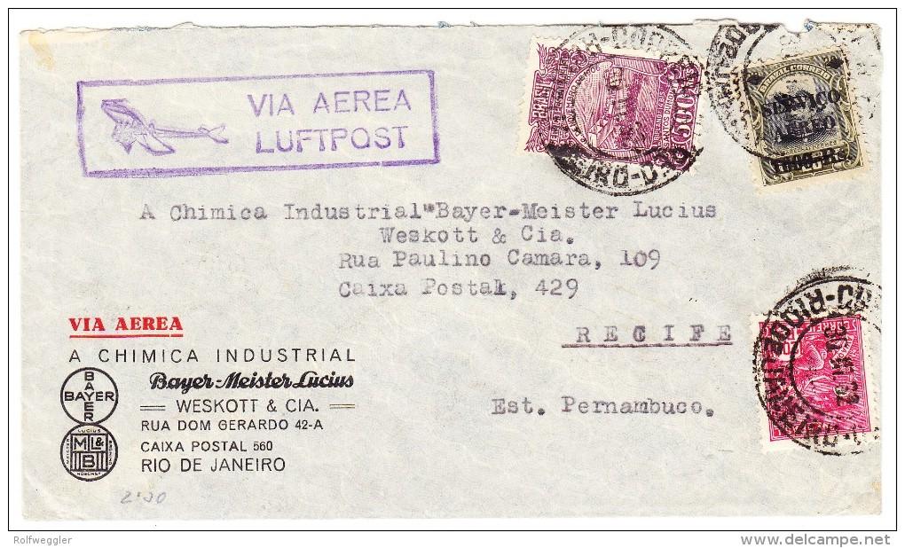 Brasilien Rio 30.3.1932 Luftpost Brief Der Firma Bayer Chimical Nach Recife Pernambuco - Luftpost