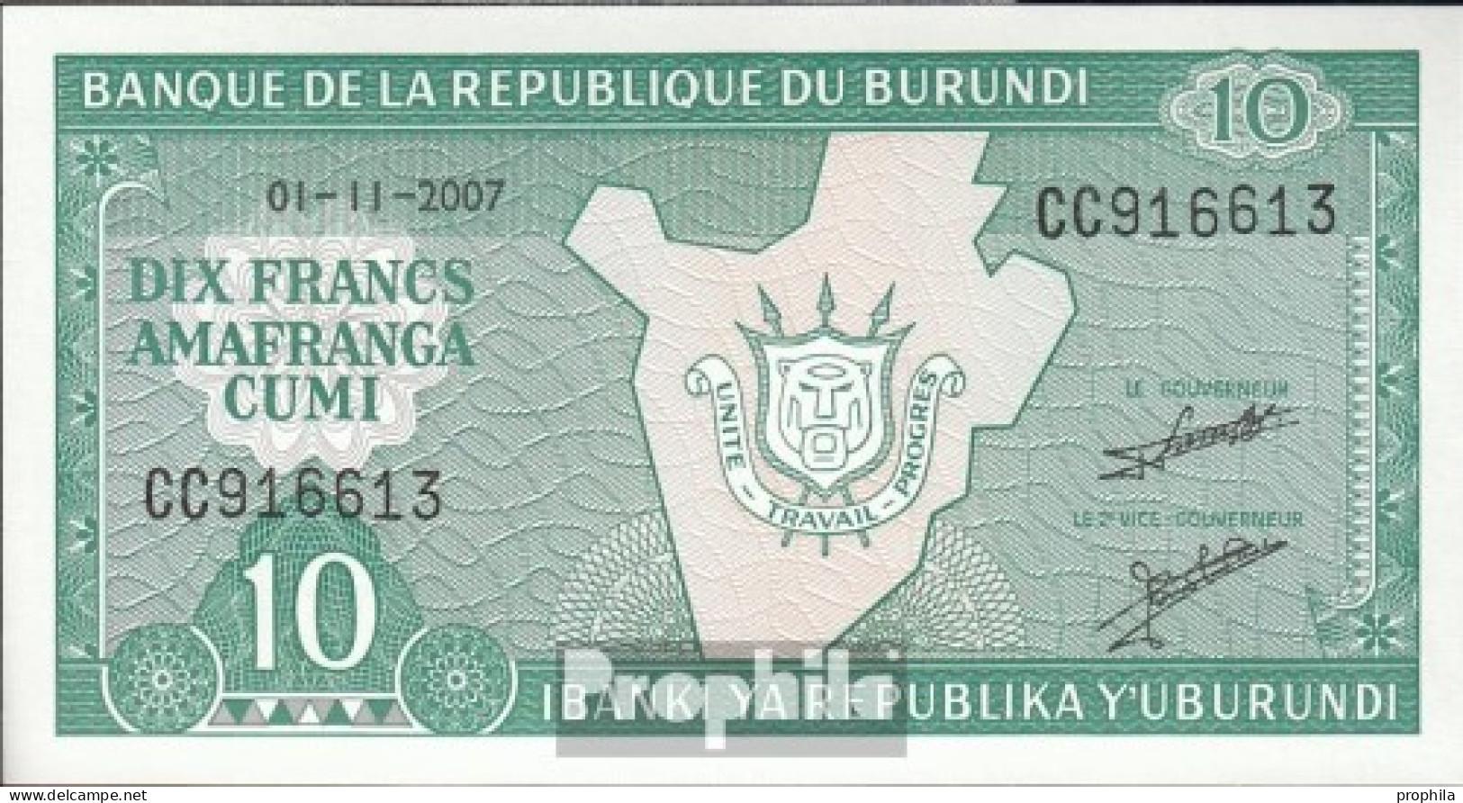 Burundi Pick-Nr: 33e (2007) Bankfrisch 2007 10 Francs - Burundi