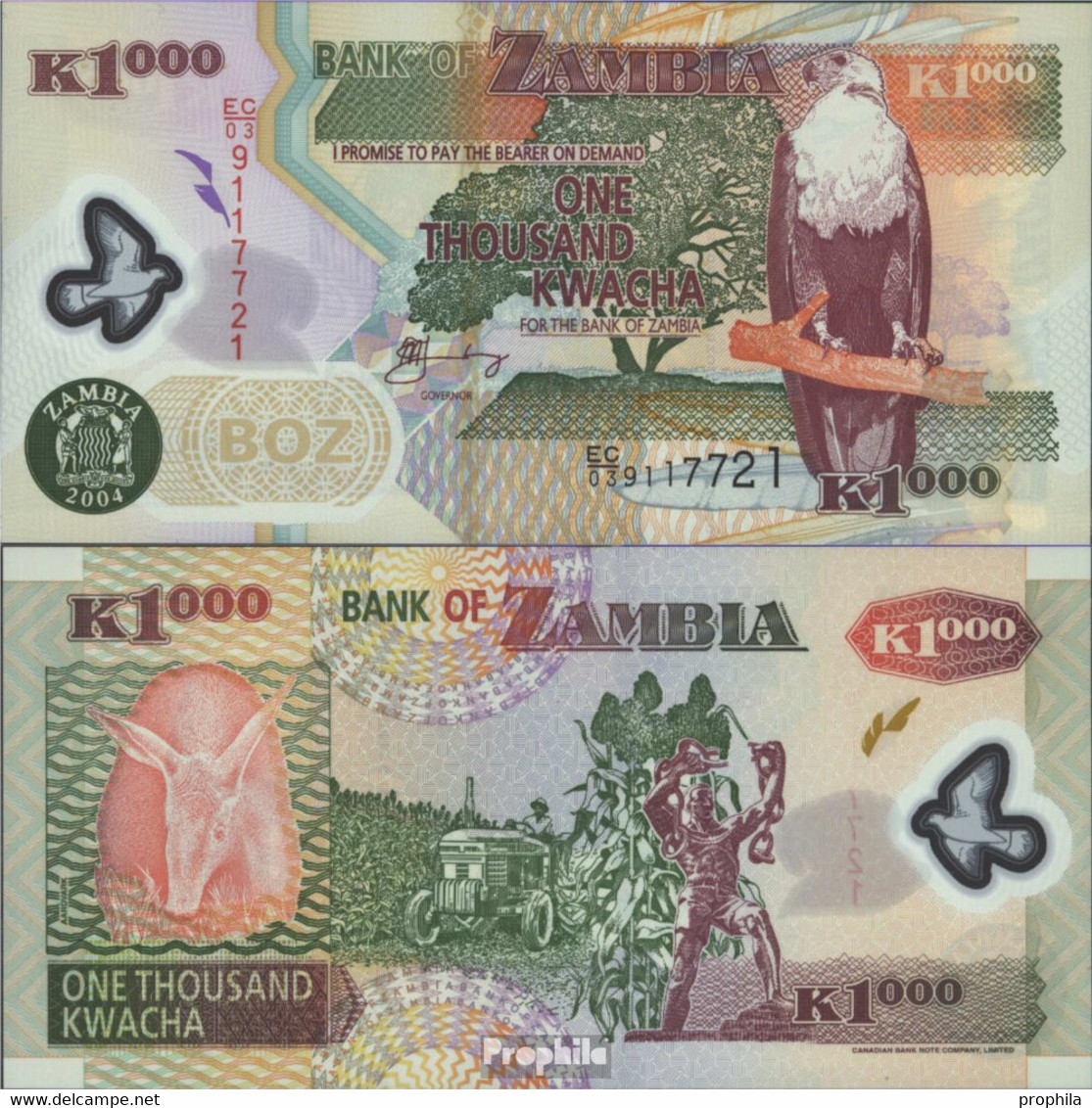 Sambia Pick-Nr: 44c Bankfrisch 2004 1.000 Kwacha (plastic) - Zambia